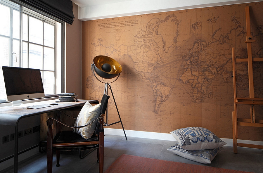 trendy-home-office-in-industrial-style-with-world-map-wall-decor-and-vintage-table-also-armchair