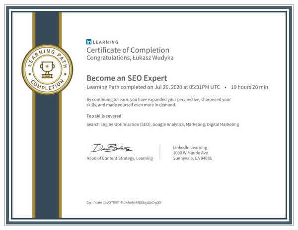 Łukasz Wudyka opinie o pozycjonowaniu w Google Moja Firma - certyfikat Linkedin - Become an SEO Expert.