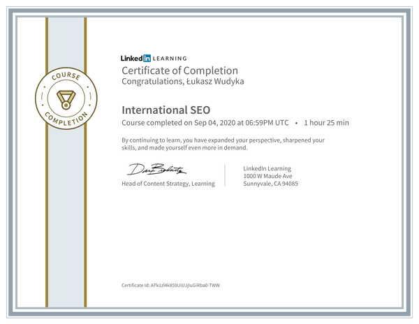 Łukasz Wudyka opinie o pozycjonowaniu w Google Moja Firma - certyfikat Linkedin - International SEO.