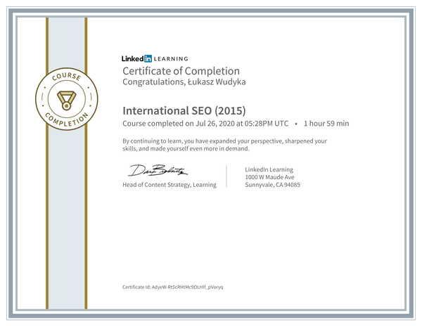 Łukasz Wudyka opinie o pozycjonowaniu w Google Moja Firma - certyfikat Linkedin - International SEO (2015).