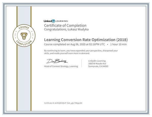 Łukasz Wudyka opinie o pozycjonowaniu w Google Moja Firma - certyfikat Linkedin - Learning Conversion Rate Optimization (2018).