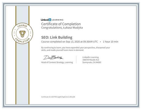 Łukasz Wudyka opinie o pozycjonowaniu w Google Moja Firma - certyfikat Linkedin - SEO: Link Building.