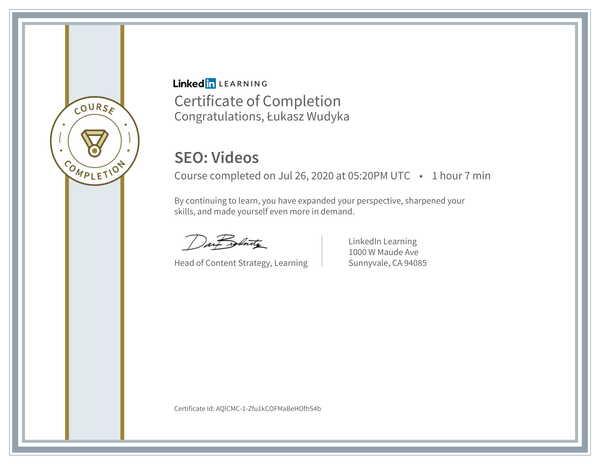 Łukasz Wudyka opinie o pozycjonowaniu w Google Moja Firma - certyfikat Linkedin - SEO: Videos.