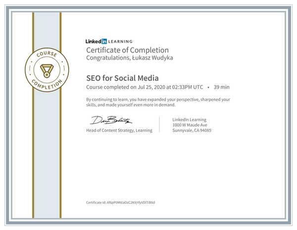 Łukasz Wudyka opinie o pozycjonowaniu w Google Moja Firma - certyfikat Linkedin - SEO for Social Media.