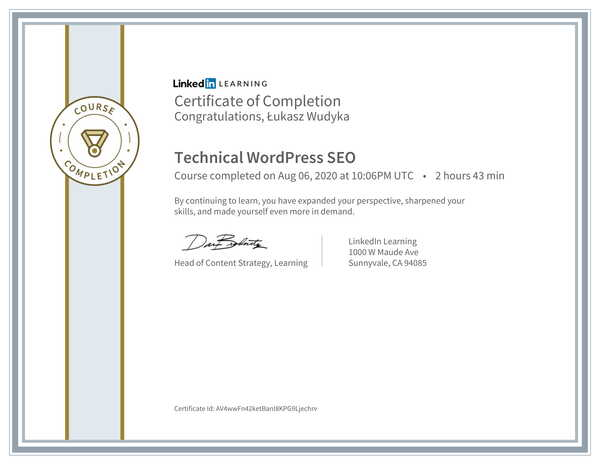 Łukasz Wudyka opinie o pozycjonowaniu w Google Moja Firma - certyfikat Linkedin - Technical WordPress SEO.