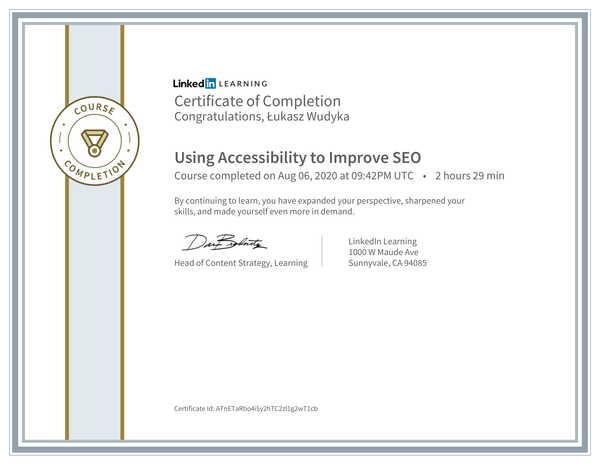 Łukasz Wudyka opinie o pozycjonowaniu w Google Moja Firma - certyfikat Linkedin - Using Accessibility to Improve SEO.